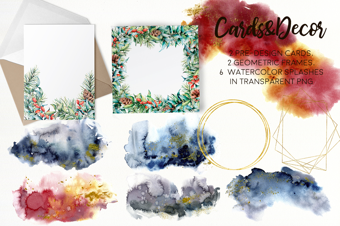 Christmas Traditions. Watercolor Bundle