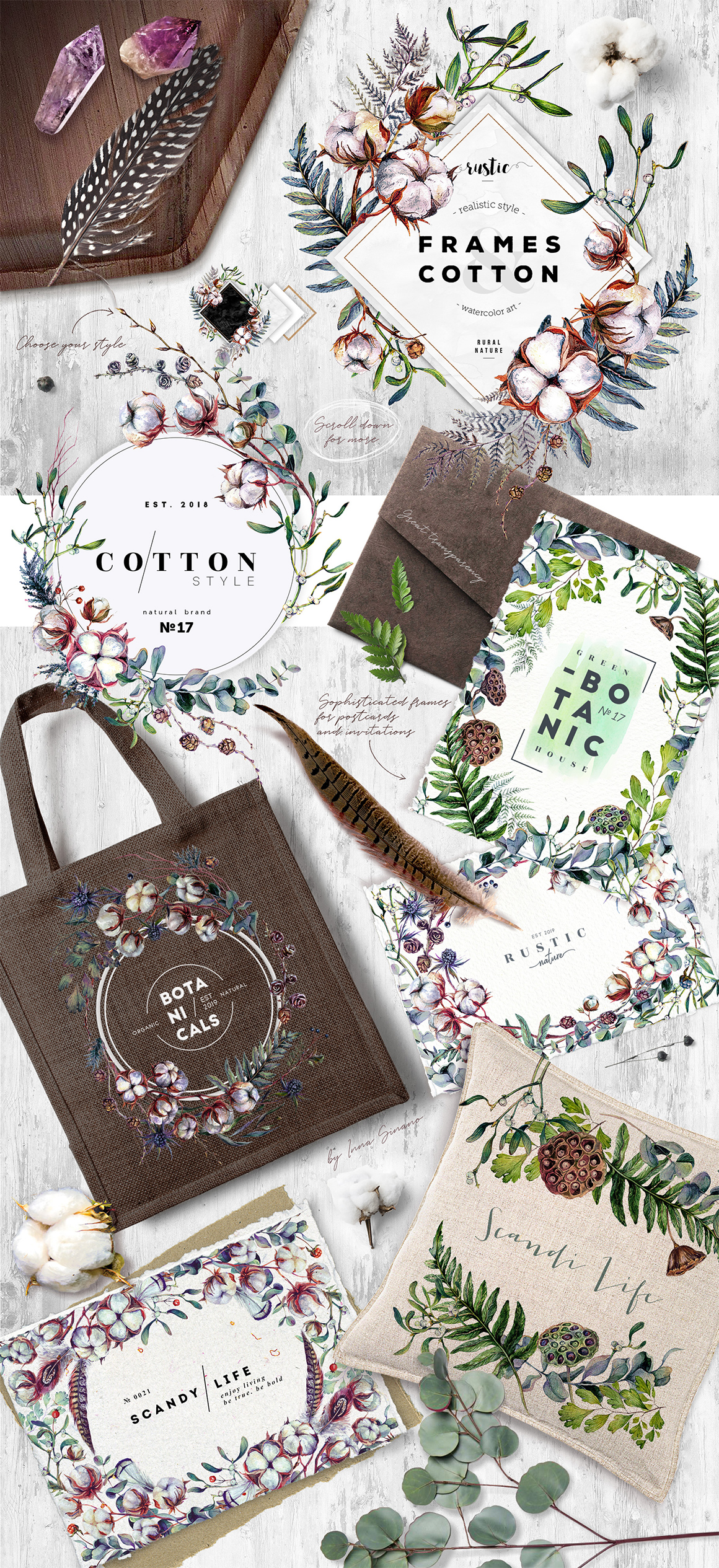 Cottonica - Trendy Greenery Watercolor Collection
