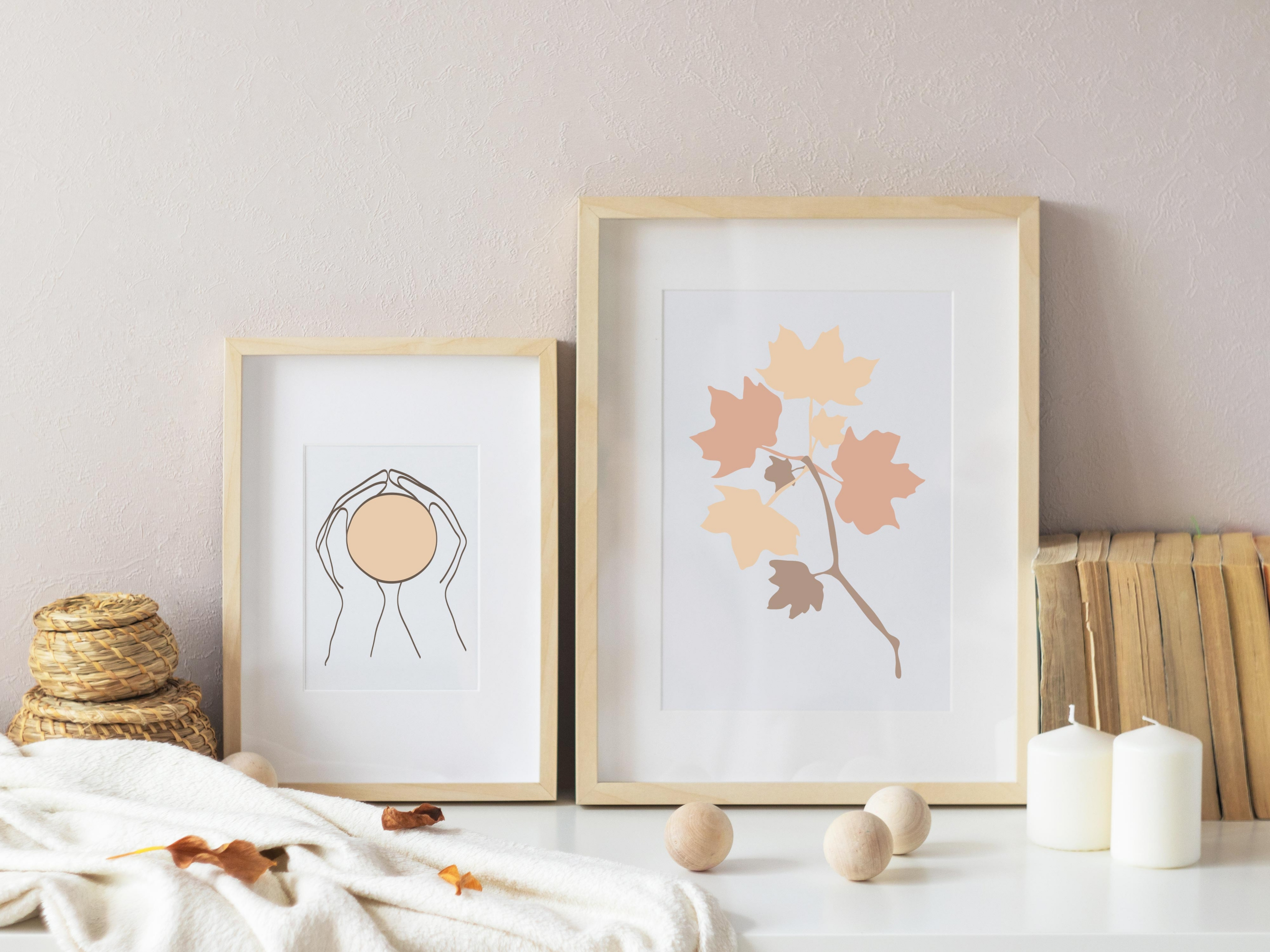 Fall Leaves & Pumpkins Vector Clip art Boho Style