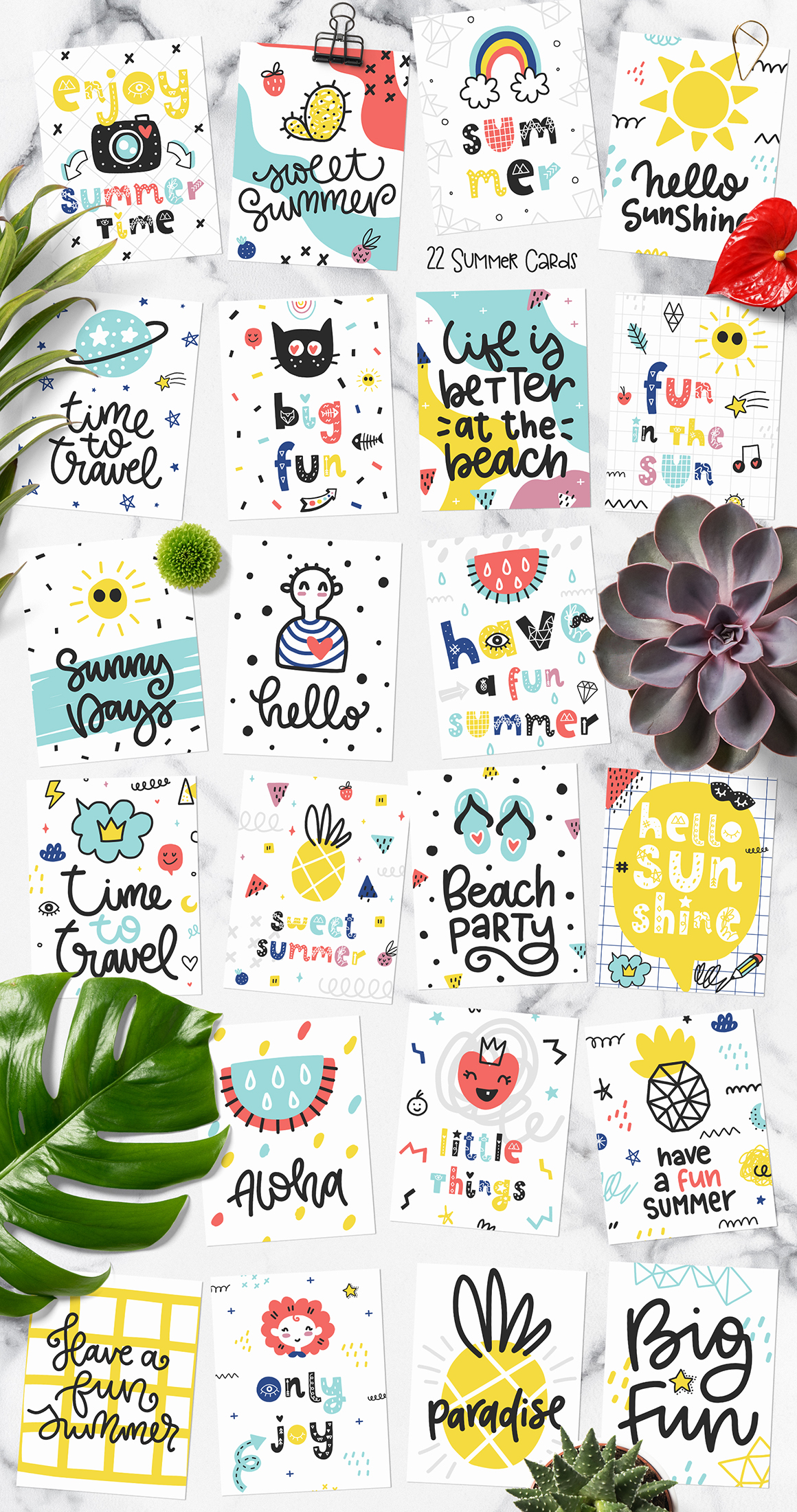 Hello Summer Doodles - Clipart and Patterns Set
