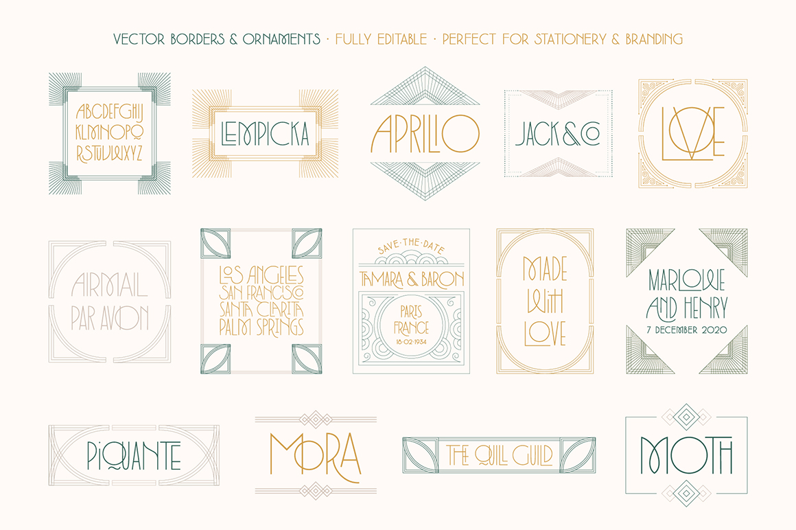 Lempicka Font Duo & Vector Ornament Pack