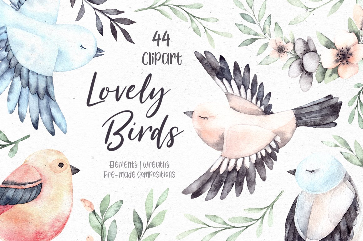 Lovely Birds. Watercolor Set of Cute Characters