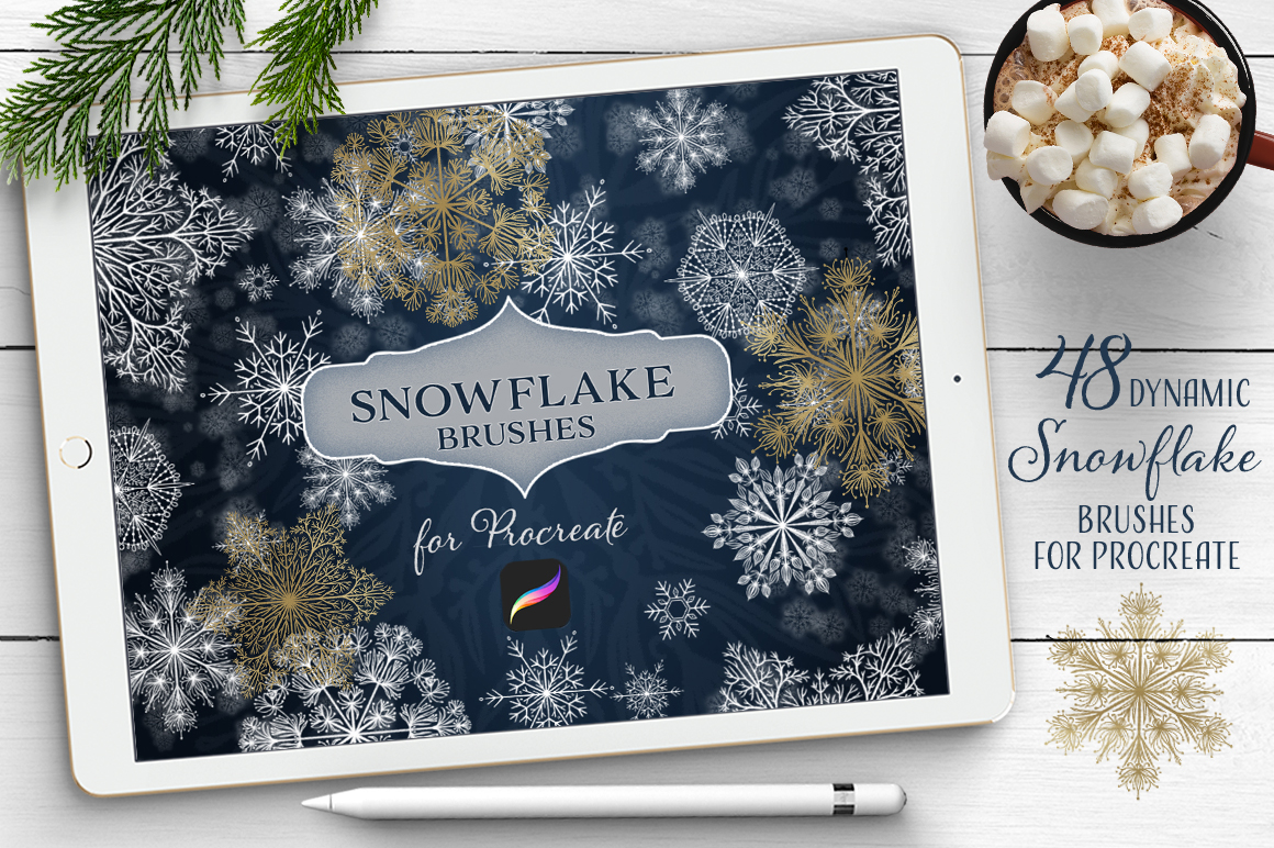 48 Dynamic Snowflake Brushes for Procreate