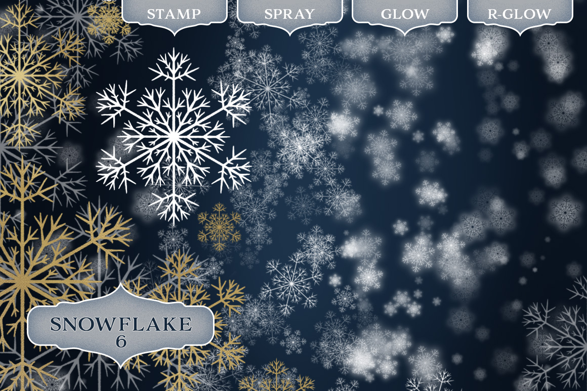48 Dynamic Snowflake Brushes for Photoshop