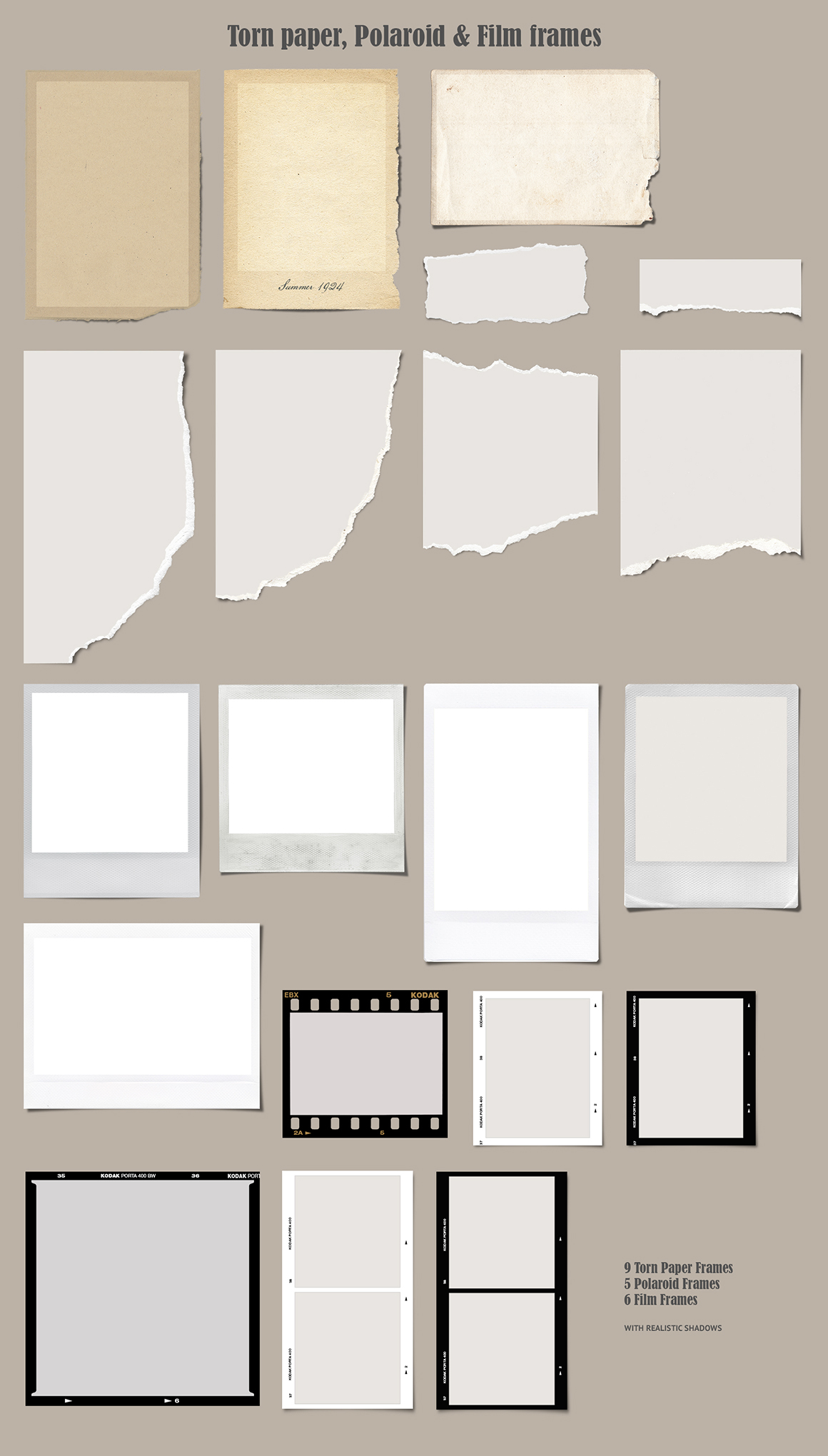 60 Realistic Photo Frames & Papers