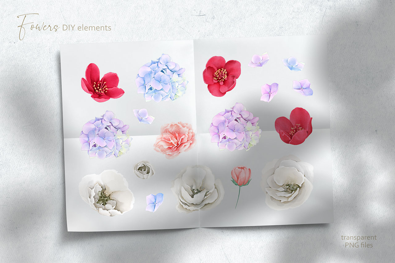 Flowers & Hands Watercolor Collection