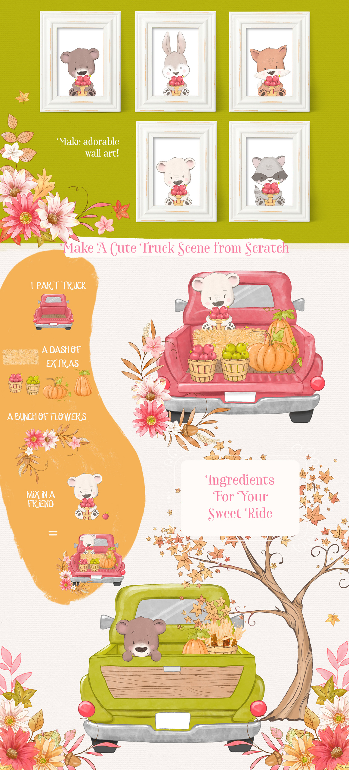 Happy Fall Y'all Animal Clipart Kit