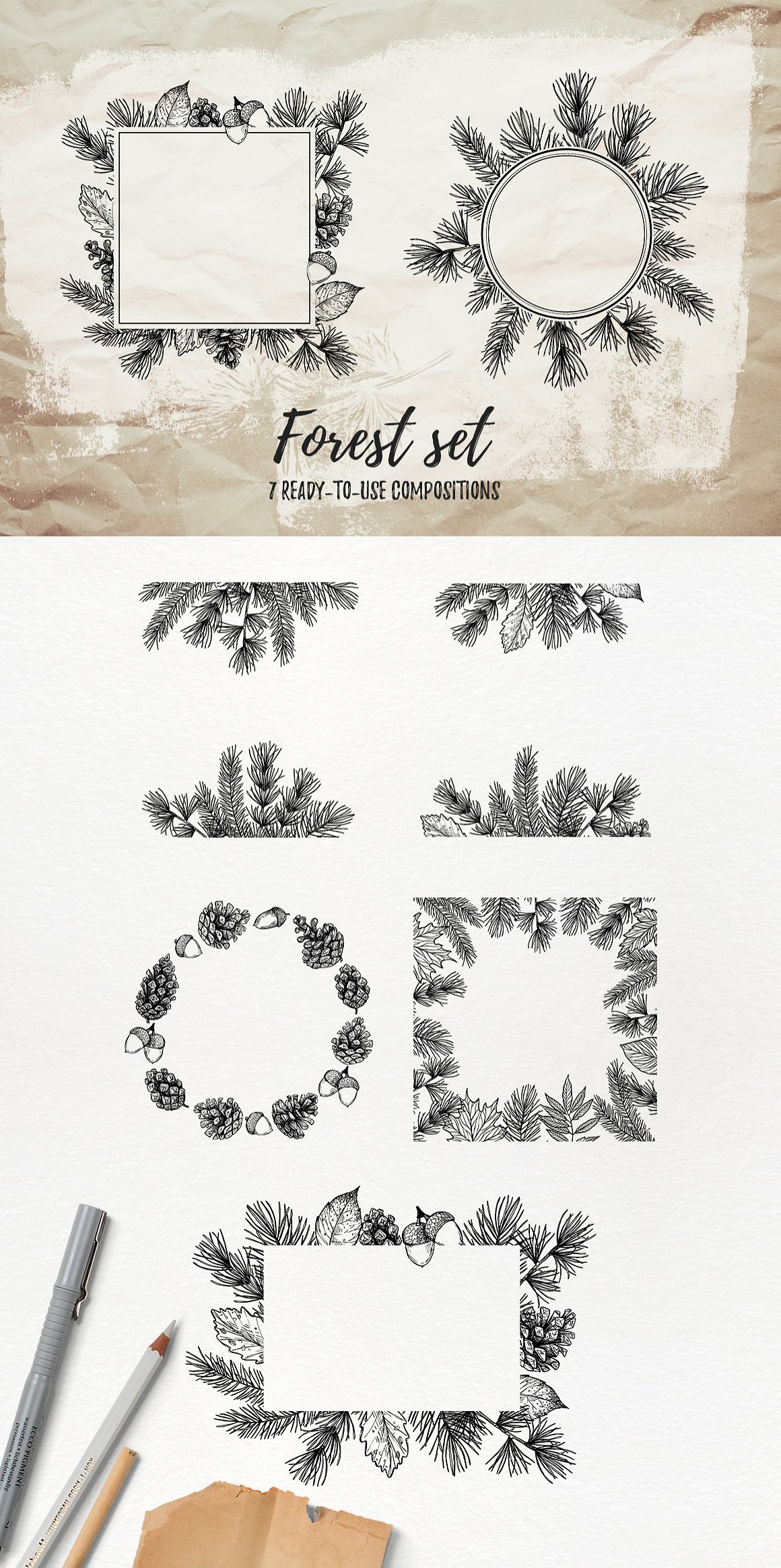 Sketch Forest Set Pine Branches