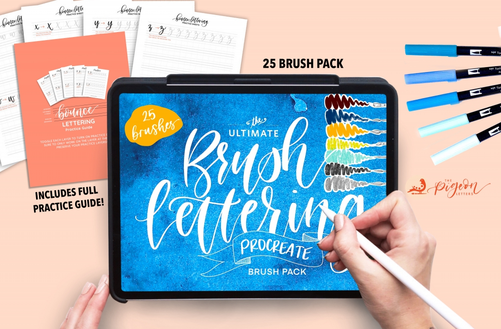 Download Ultimate Brush Lettering 25 Brush Procreate Pack - Design Cuts