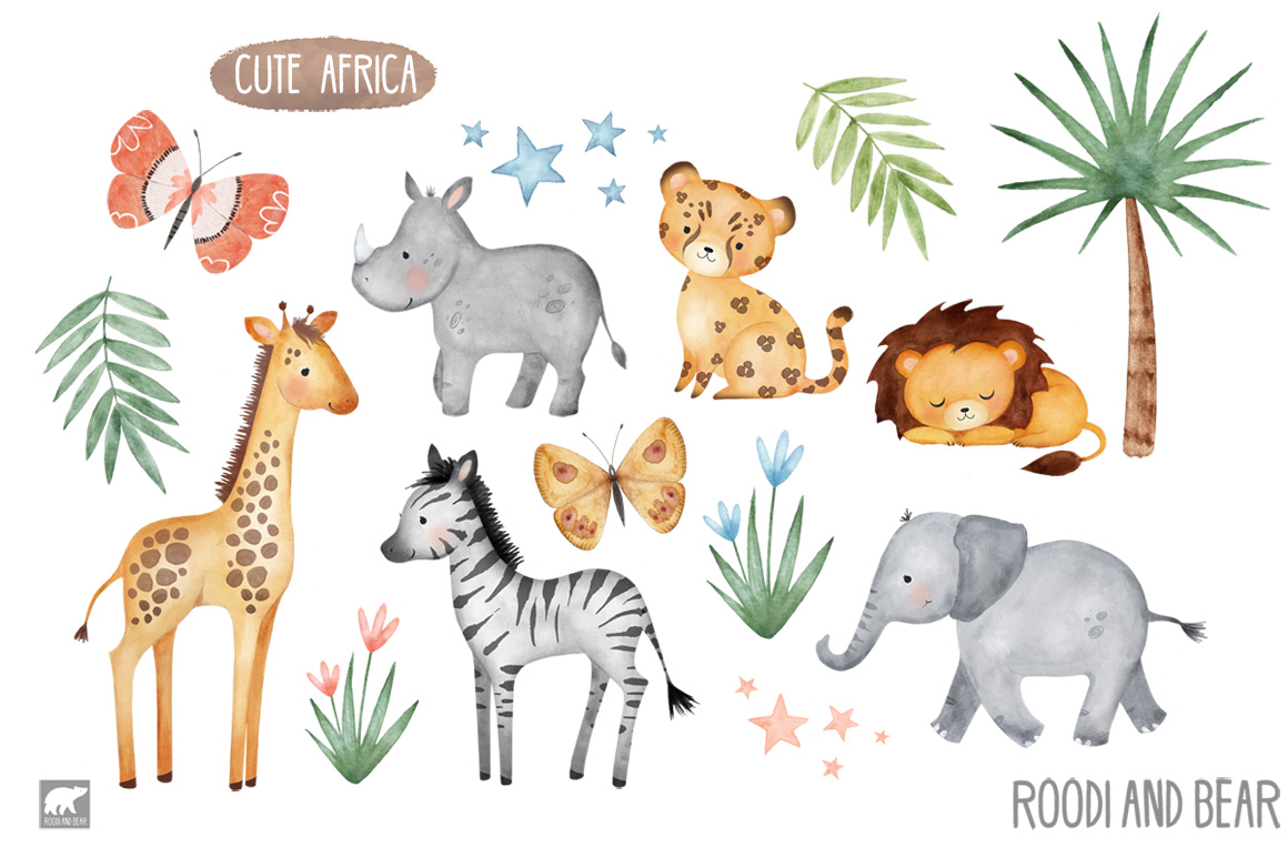 Watercolor African Animals, Jungle, Safari