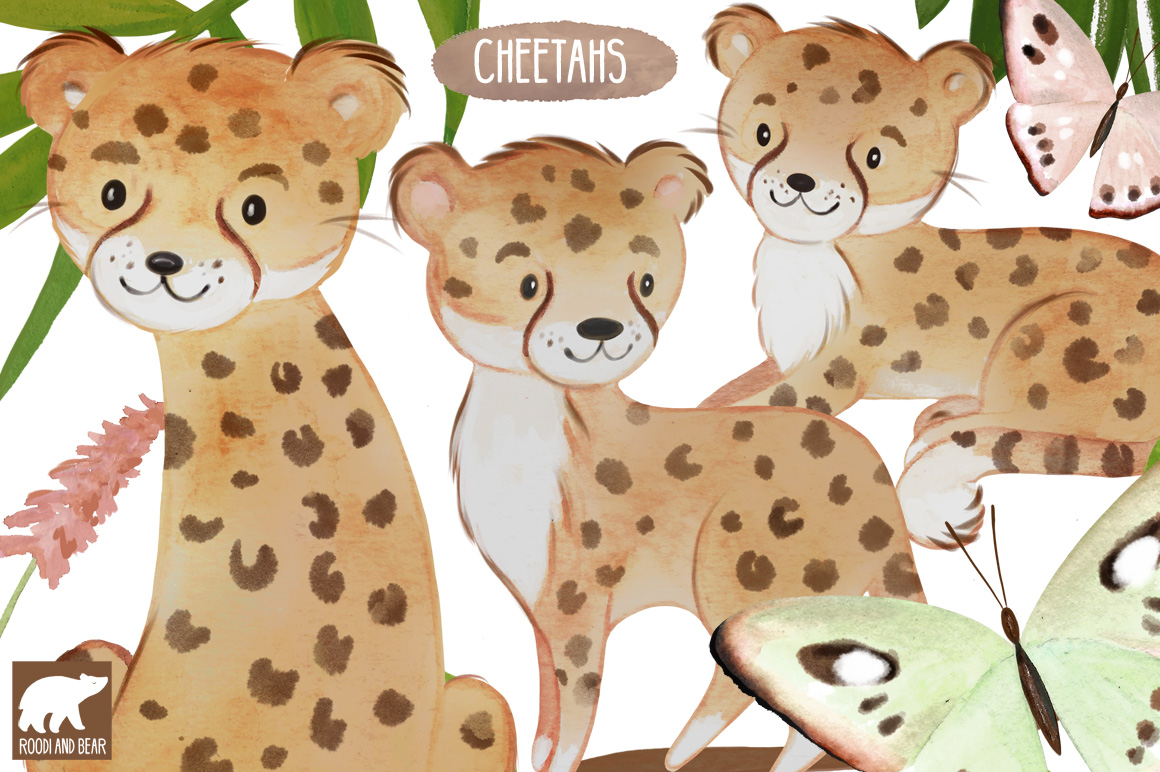 Watercolor Cheetahs and Accessories