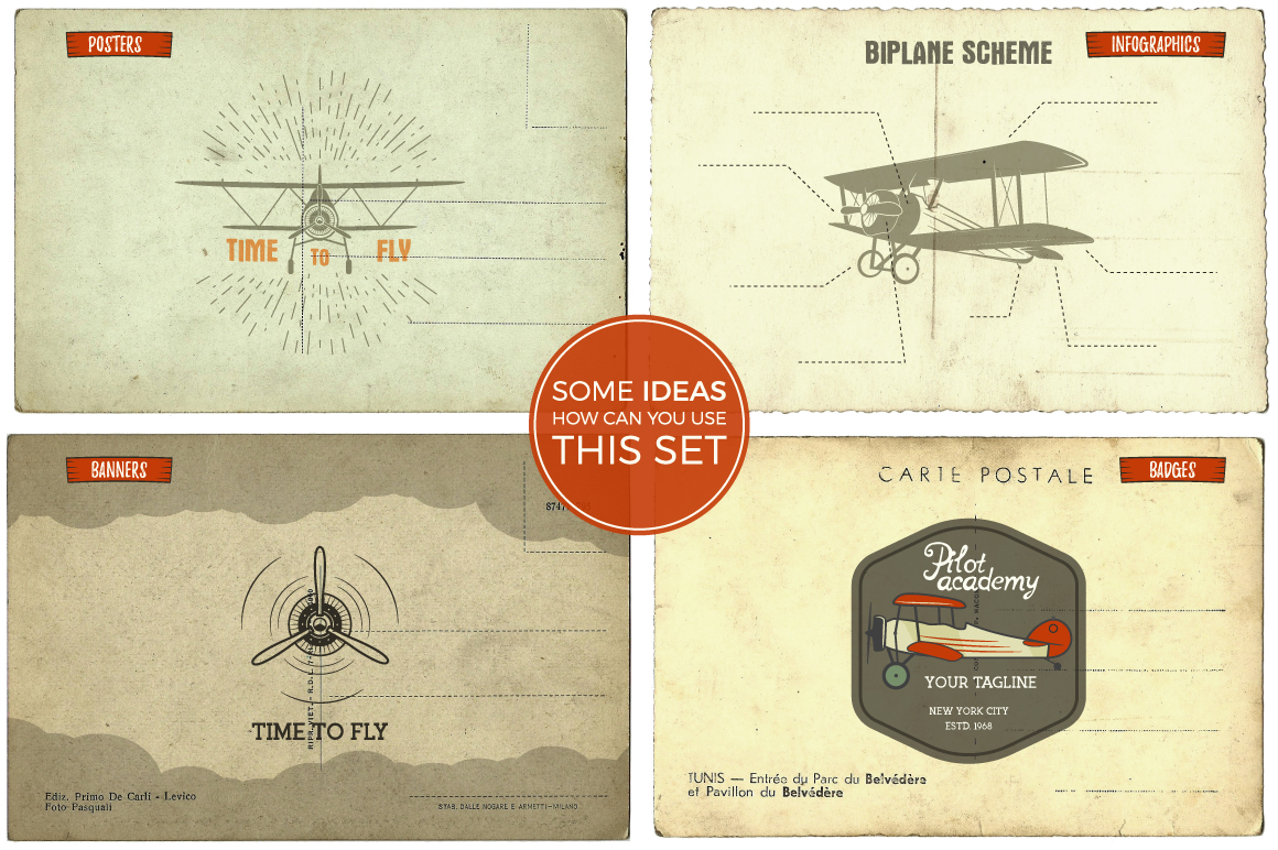 Airplane Badges & Vector Design Elements
