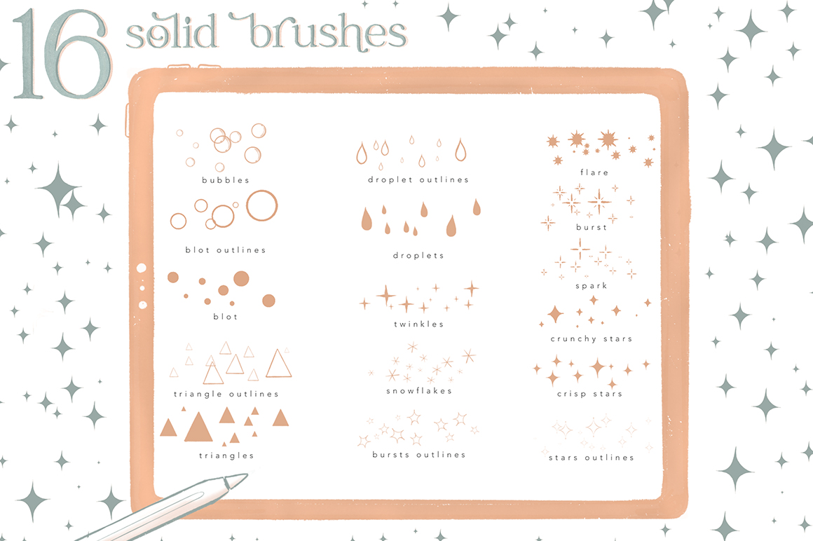 Scattered Stamp Cluster Brushes for Procreate