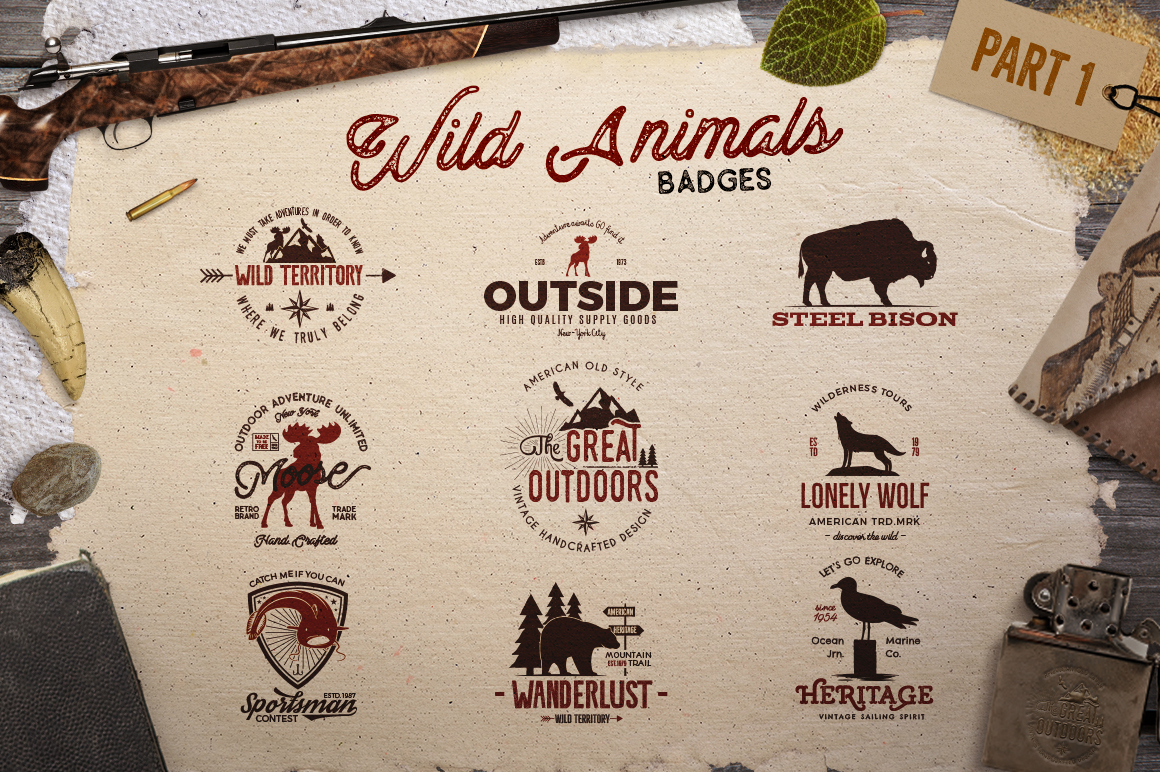 Wild Animals Logo Adventure Emblems Part 1