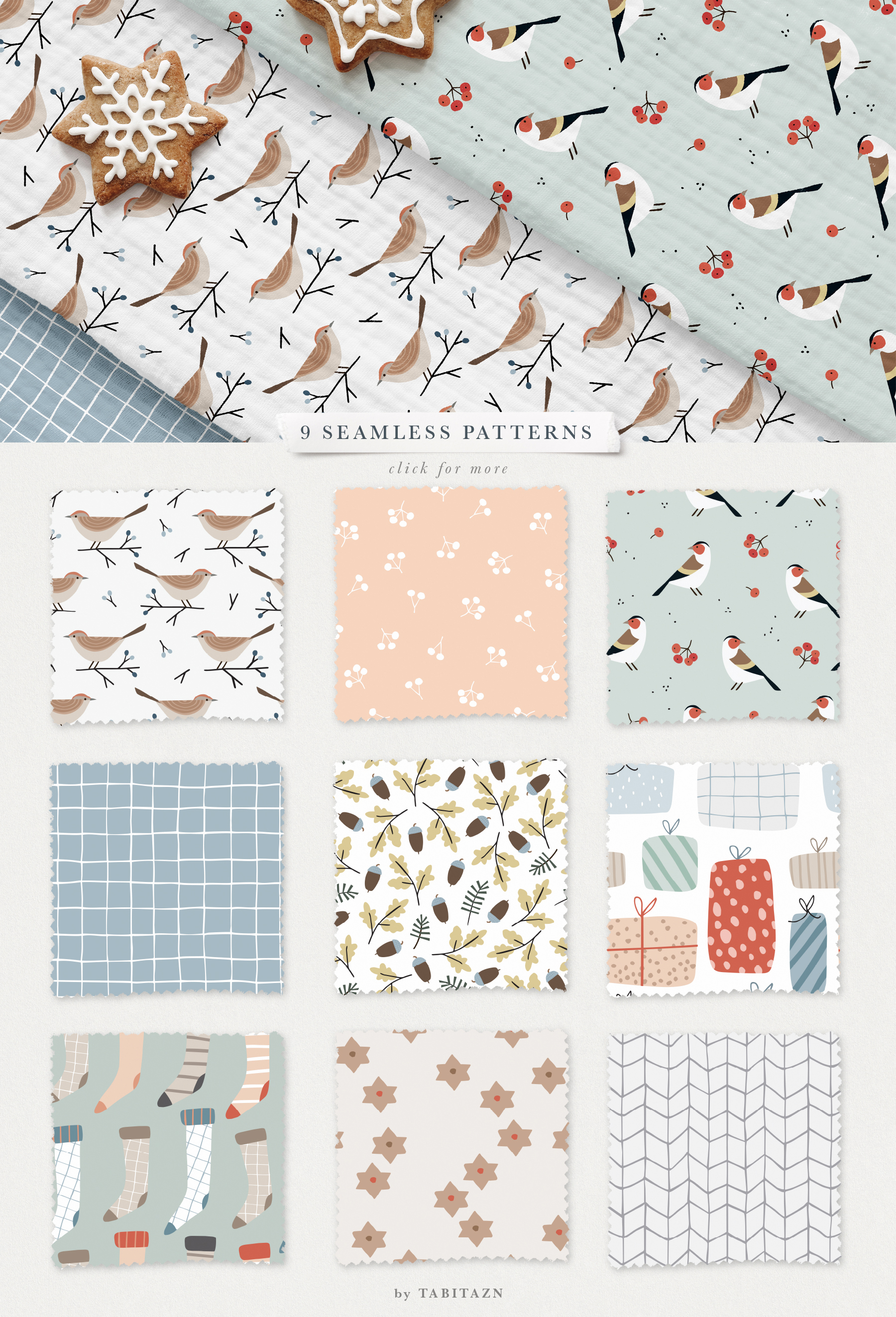 Winter Birds Scandinavian Christmas Set