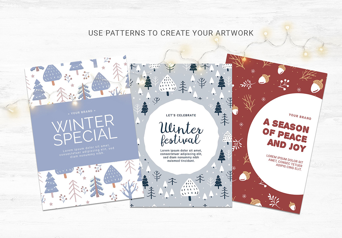 Winter Christmas Tree Patterns Pack