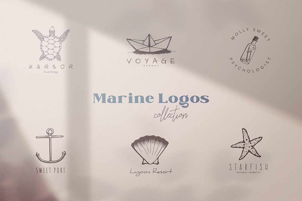 200 Hand Drawn Elements - Marine