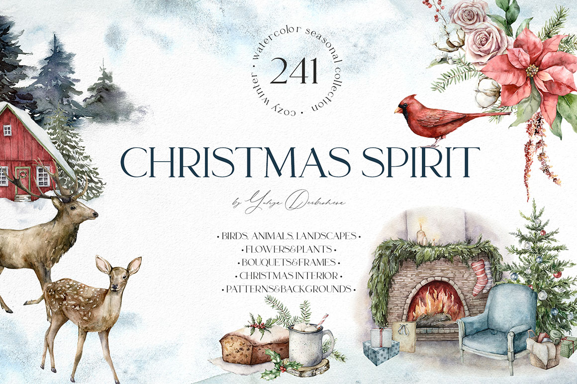 Christmas Spirit. Watercolor Winter Clipart