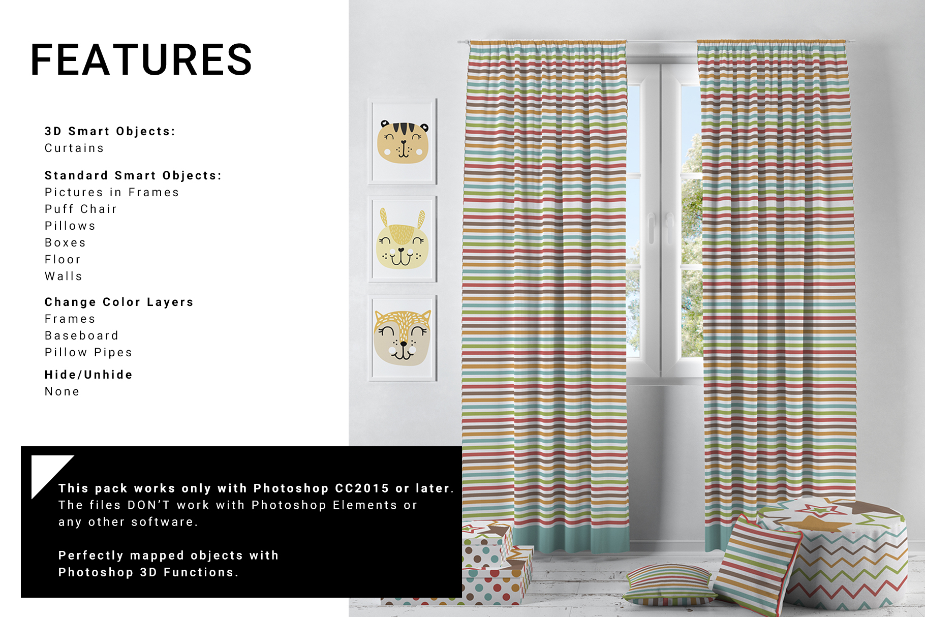 Nursery - Long and Short Curtains & Pipe Pillows