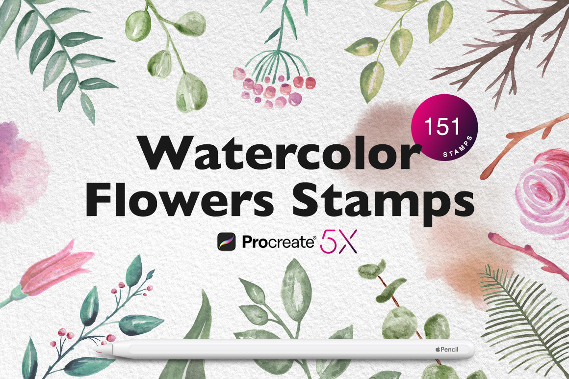Procreate Watercolor Flowers Stamps