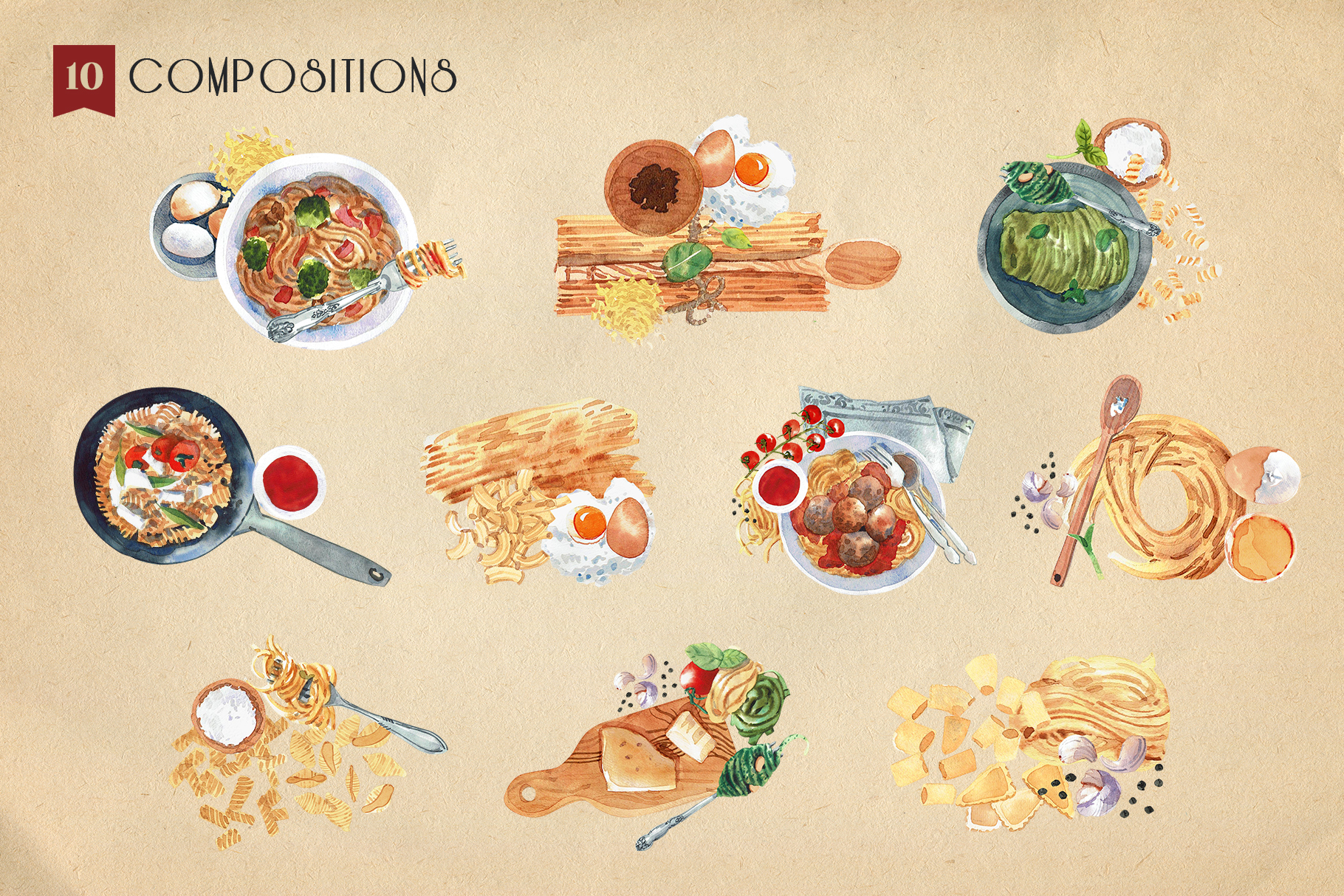 Pasta Recipe and Dishes Watercolor