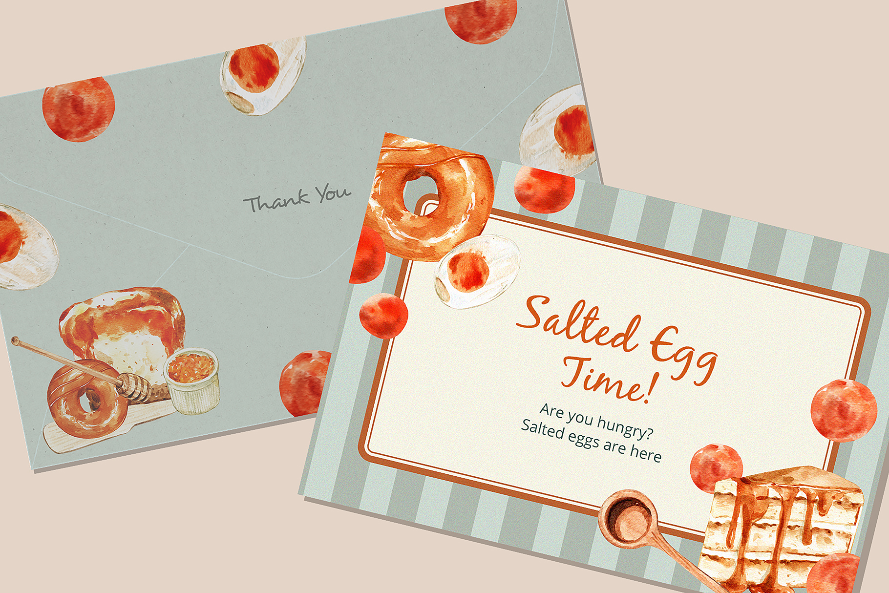 Salted Egg Food and Dessert Watercolor Collection
