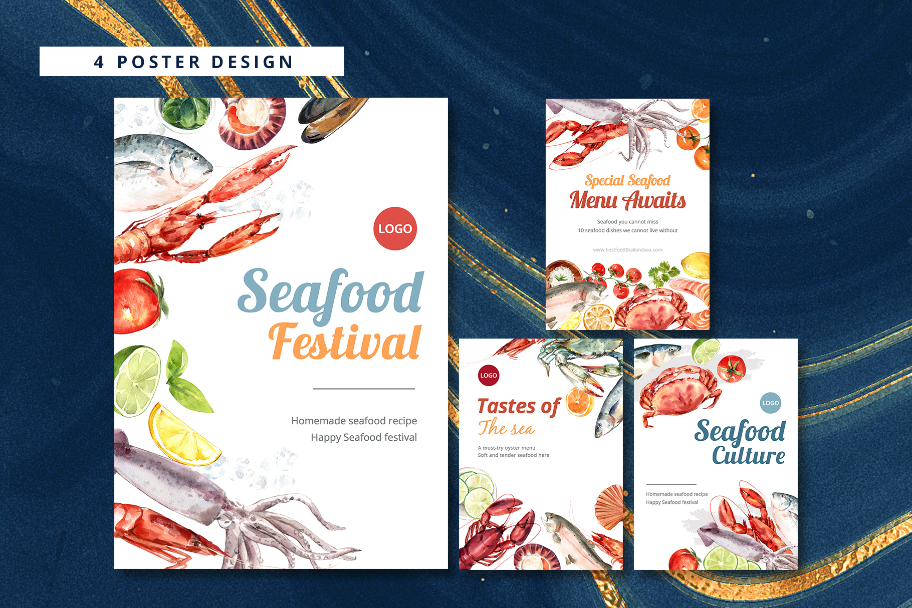 Seafood Watercolor Illustration Set