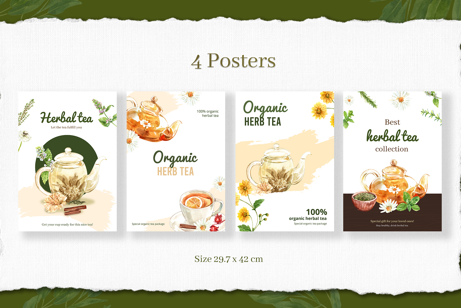 Tea Time with Herbal Tea for Health Watercolor Set