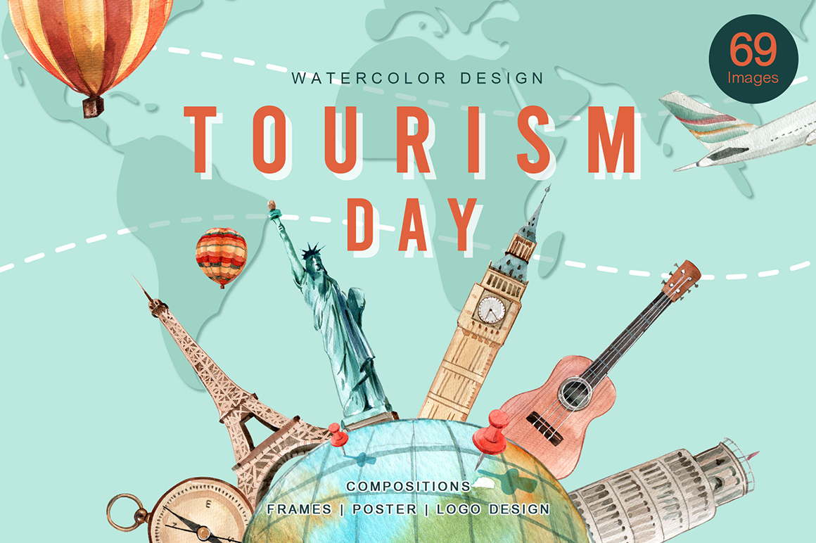 World Tourism Day Watercolor Set