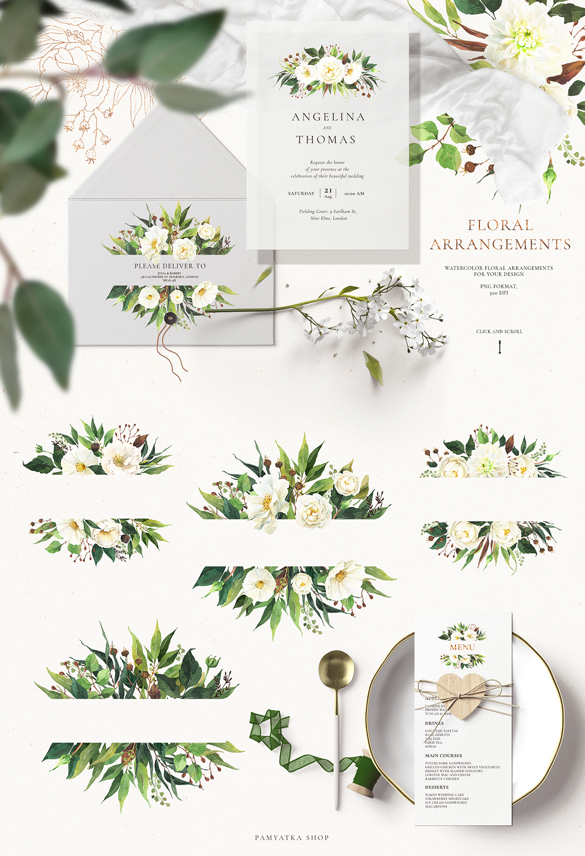 Spring Greenery & White Flowers