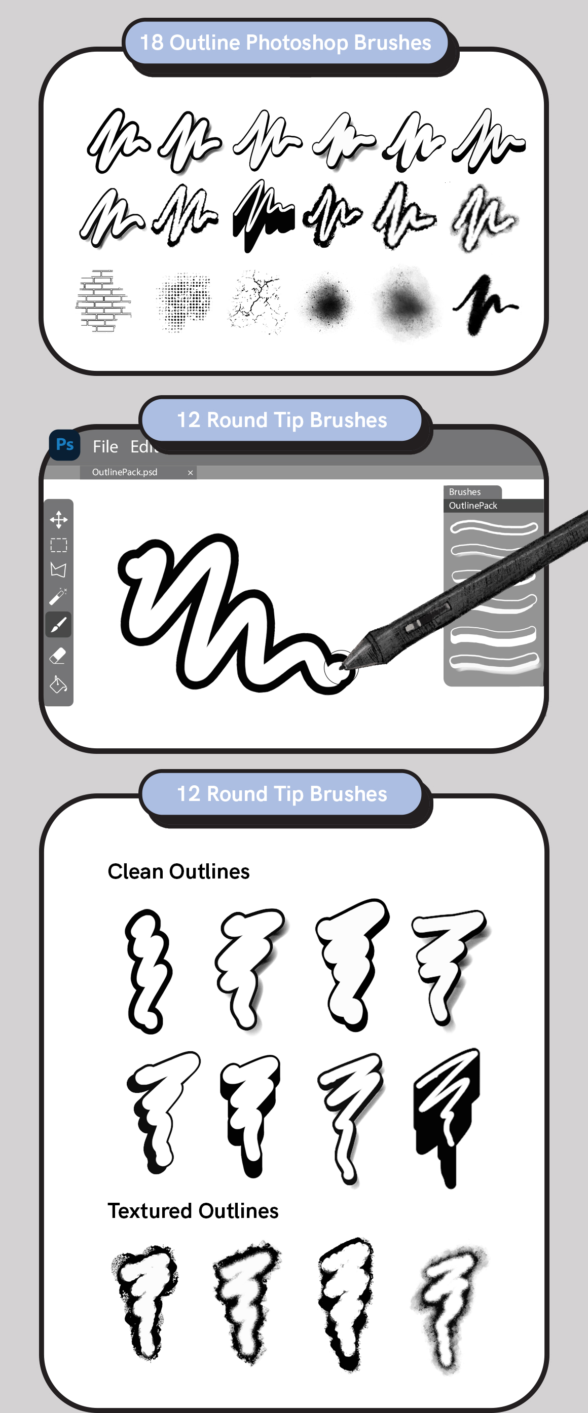 Outline Pack - Outline Brushes for Photoshop