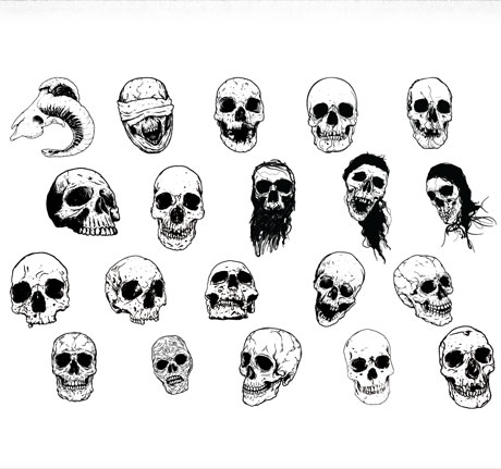 Hand Drawn Skulls Pack (20 Vectors)