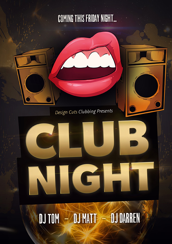 create a night club promotional poster using vectors design cuts. Black Bedroom Furniture Sets. Home Design Ideas
