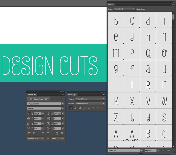 Monster creative font bundle demo tutorial - Glyphs panels