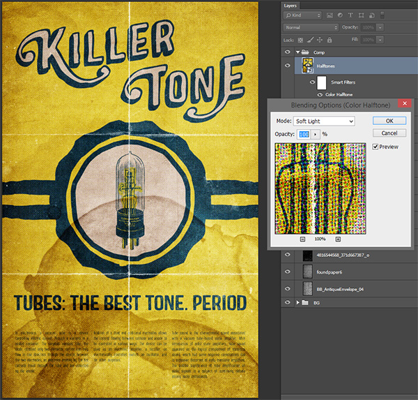 Vintage tube advertising design tutorial